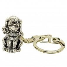 Брелок для ключей Собака с цветком посебрение 1635