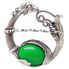 Кольцо для платка Павлин хризопраз посеребрение 960