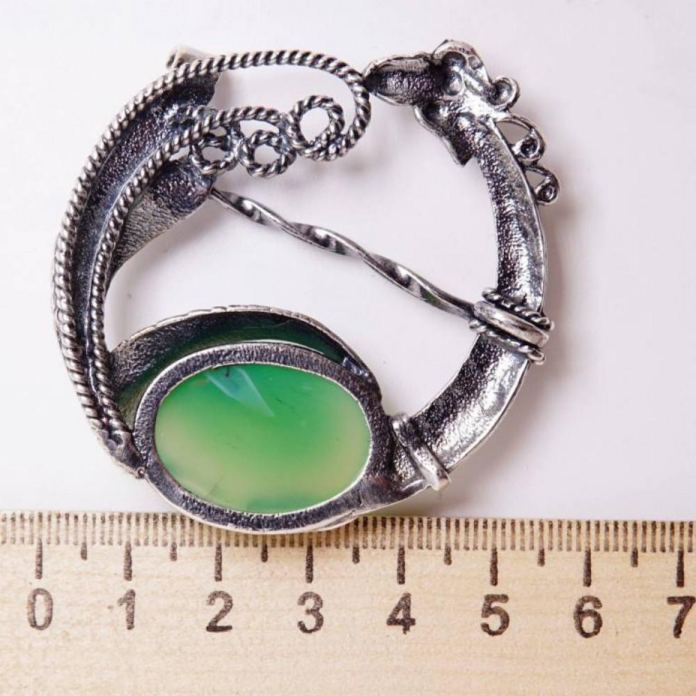 Кольцо для платка Павлин агат зеленый посеребрение 960