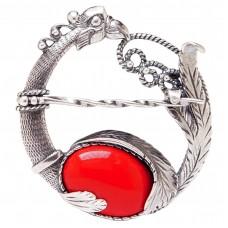 Кольцо для платка Павлин красный коралл посеребрение 906