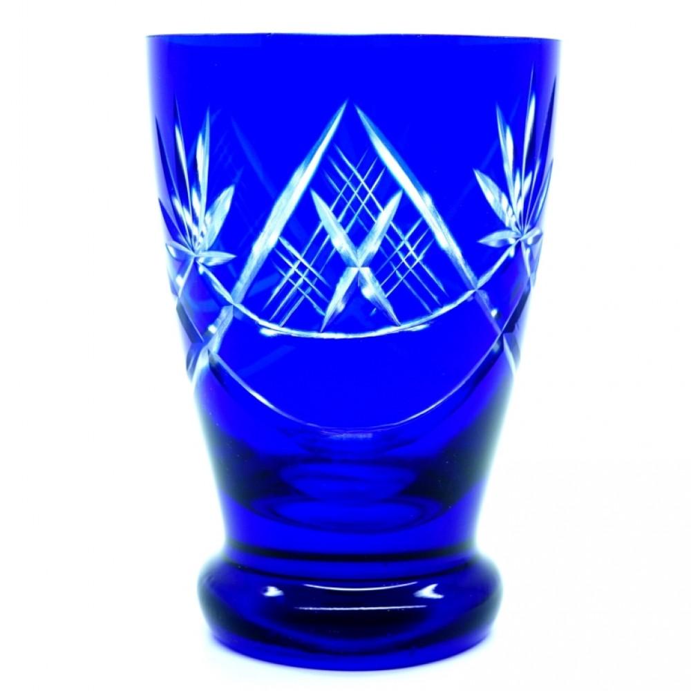 Ваза для цветов Хрусталь синий алмазная грань СССР Винтаж Б/У 2937