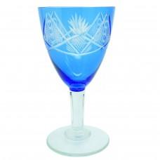 Бокал синий хрусталь Богемия Б/У 3174
