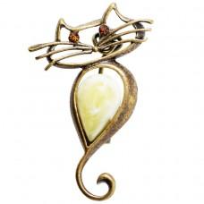 Брошь Кот стильный янтарь желток бронза 117