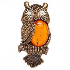 Брошь Сова янтарь коричневый бронза стразы 129