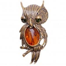 Брошь - кулон Филин на ветке янтарь коричневый бронзирование 138