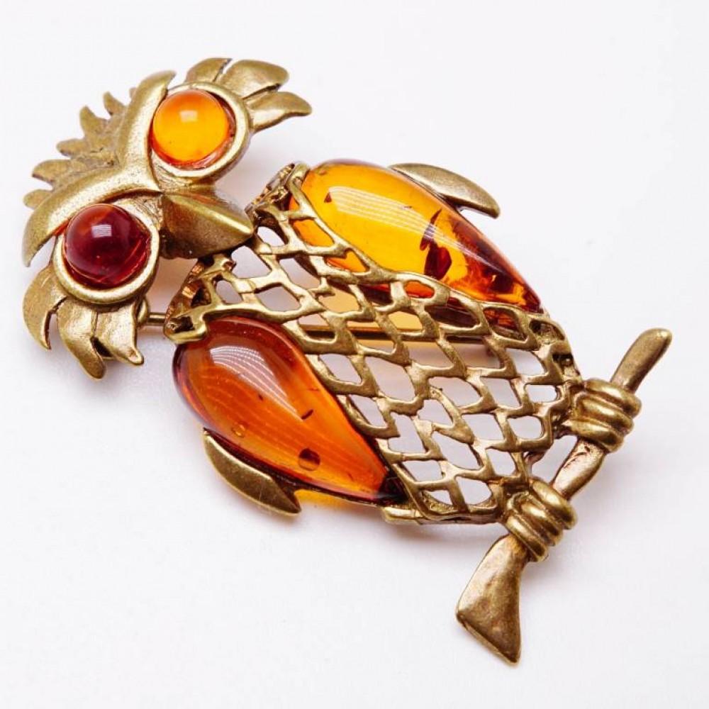Брошь - кулон Сова на ветке большая янтарь коричневый бронза 139