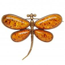 Брошь Стрекоза большая янтарь коричневый 144