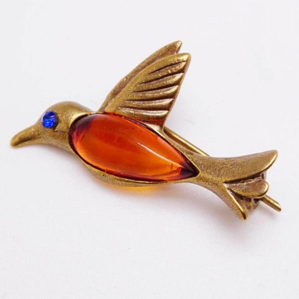Брошь птичка Колибри ласточка Янтарь коричневый в бронзе 159