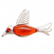 Брошь птичка Ласточка янтарь коричневый посеребрение 159