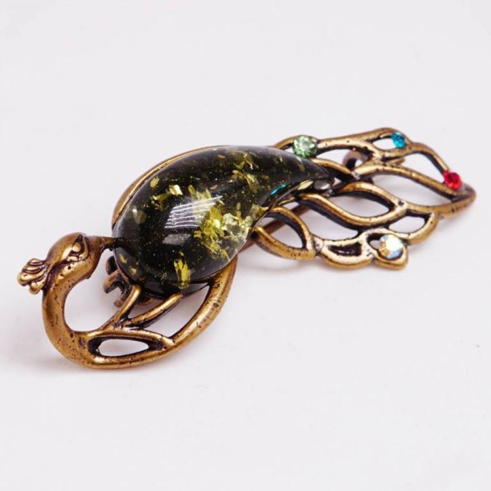 Изящная брошь Павлин (янтарь зелёный, бронза) 164