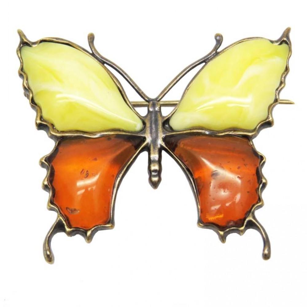 """Брошь """"Бабочка"""" янтарь бронза большая микс 167"""