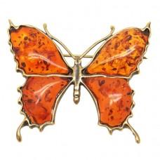 """Брошь """"Бабочка"""" большая янтарь тёмный бронза 167"""