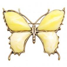 """Брошь """"Бабочка"""" большая янтарь бронза желток 167"""