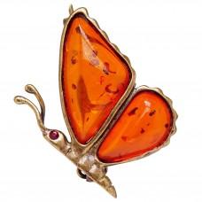 """Брошь - кулон """"Бабочка"""" янтарь коричневый бронза 171"""