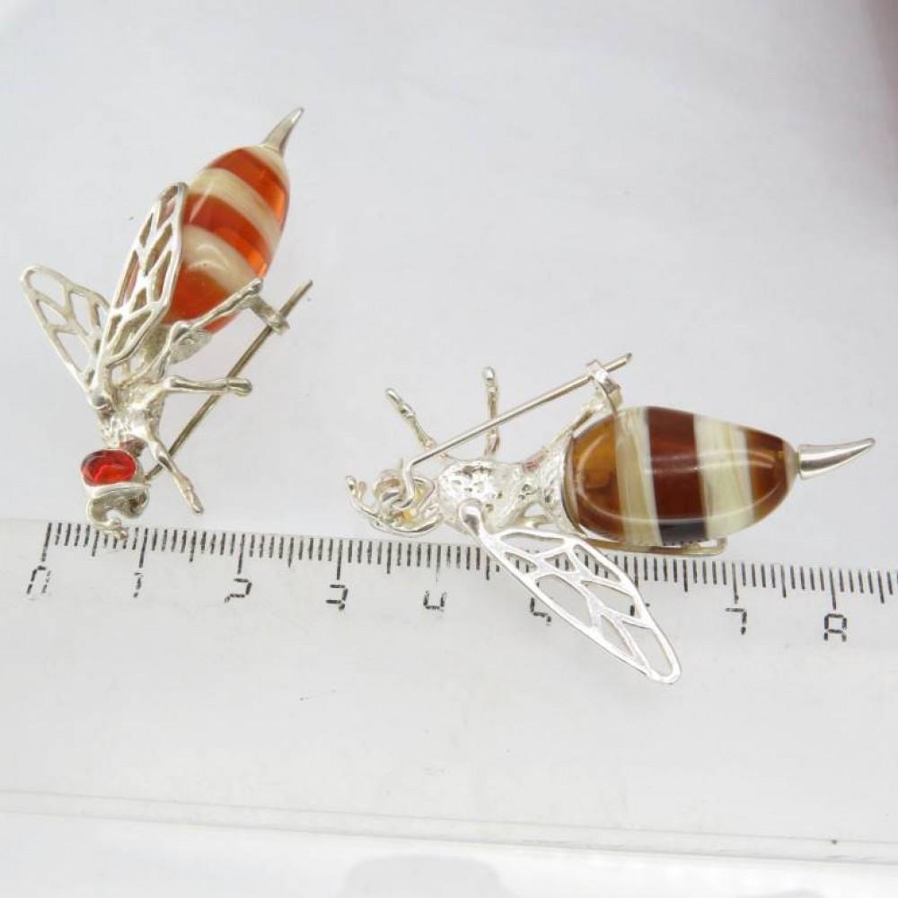 Брошь Пчела Янтарь посеребрение пчелка 5.5 см 179