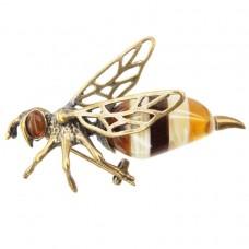 Брошь Пчела Янтарь в бронзе пчелка 5.5 см 179