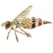 Брошь Пчела большая янтарь бронза пчелка 6.5 см 181