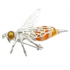 Брошь Пчела Янтарь посеребрение пчёлка большая 181