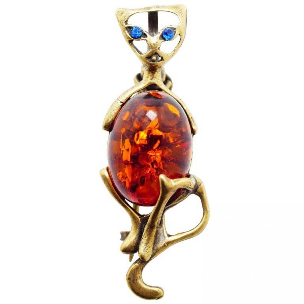 """Брошь - кулон """"Кошка сидит"""" янтарь коричневый бронза 1819"""