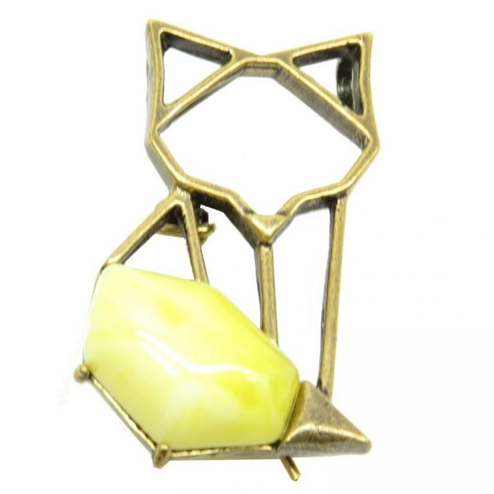 Брошь - кулон Лиса янтарь молочный бронза 1925