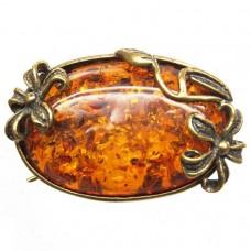 Брошь - подвеска Виктория янтарь коричневый бронза 193