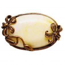 Брошь - подвеска Виктория янтарь желток бронза 193