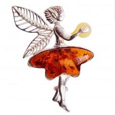 Брошь - кулон Эльф (янтарь коричневый, посеребрение) 194