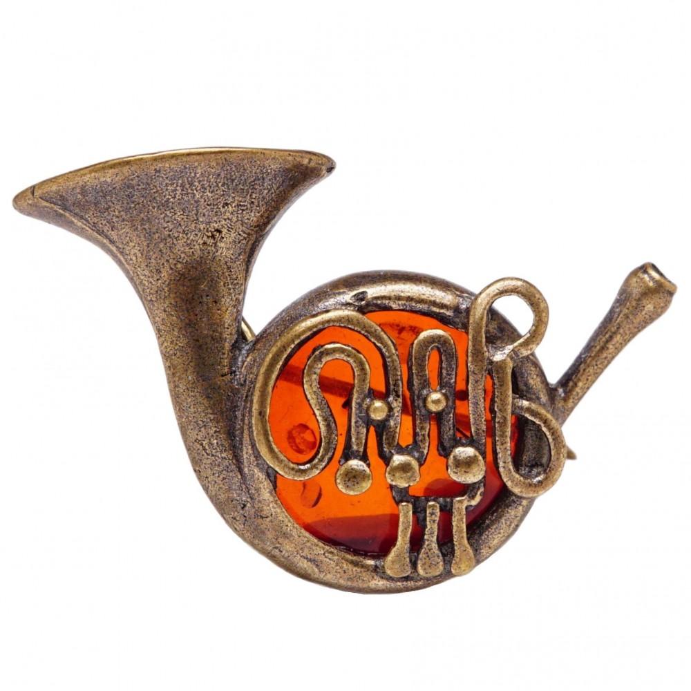Брошь Труба янтарь коричневый бронза 202