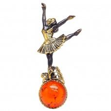 "Брошь ""Балерина в танце"" янтарь бронза 2146"