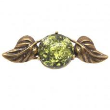 """Брошь """"Вероника"""" листики с ягодой янтарь зелёный бронза 2229"""
