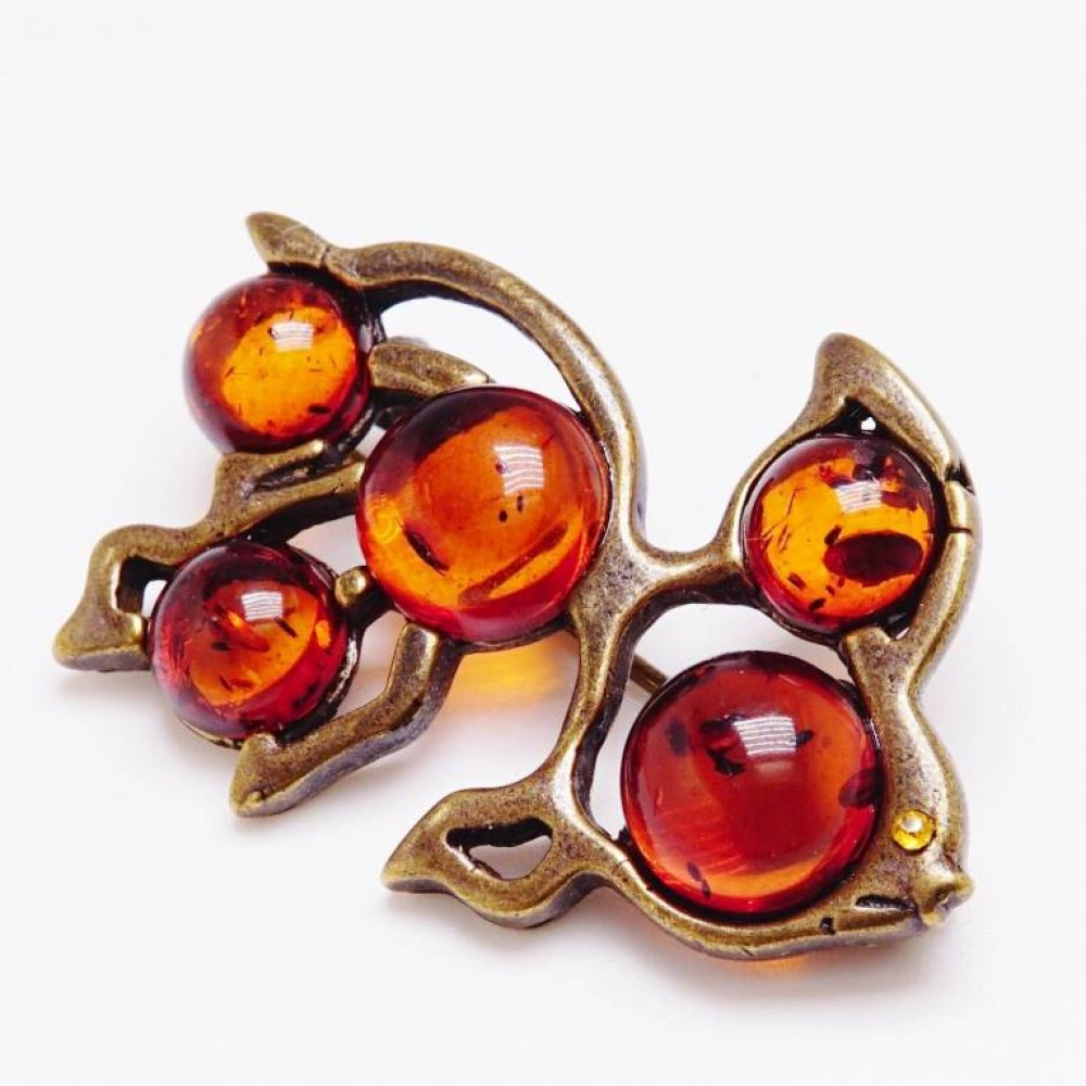 Брошь Золотая рыбка (янтарь коричневый) 234