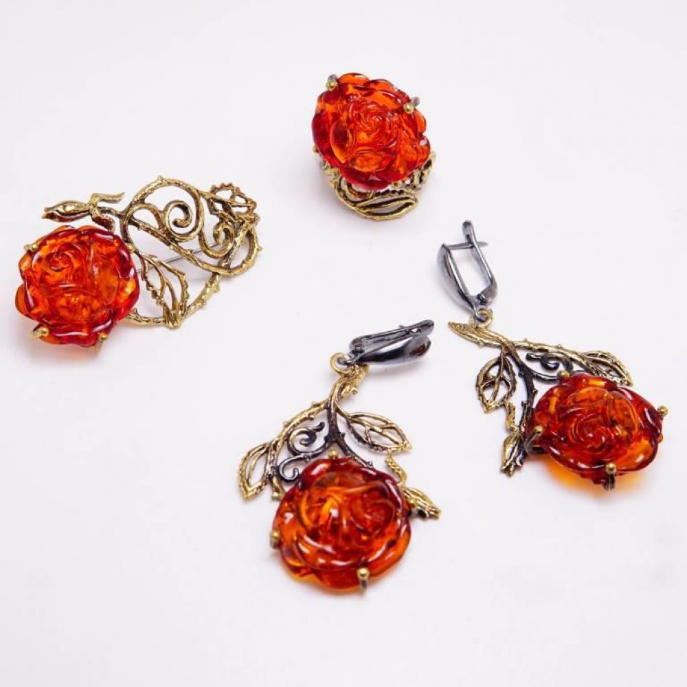 Кольцо Роза ажурная янтарь бронза 2682