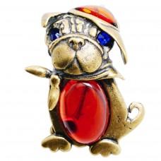 Брошь - кулон Собачка янтарь тёмный стразы бронза 271
