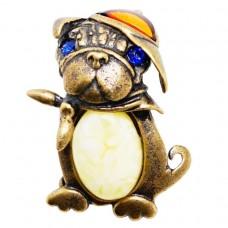 Брошь - кулон Собачка (янтарь микс бронза) 271