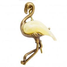 Брошь Фламинго янтарь желток бронза 3031