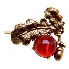 Брошь Веточка Желудь (янтарь коричневый бронза) 3047