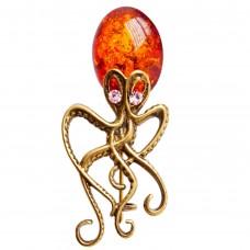 Брошь - кулон Осьминог янтарь бронза стразы 3122