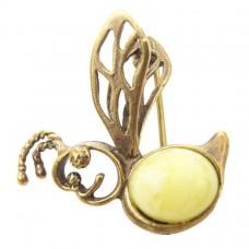 Брошь кулон Пчёлка янтарь молочный бронза 548
