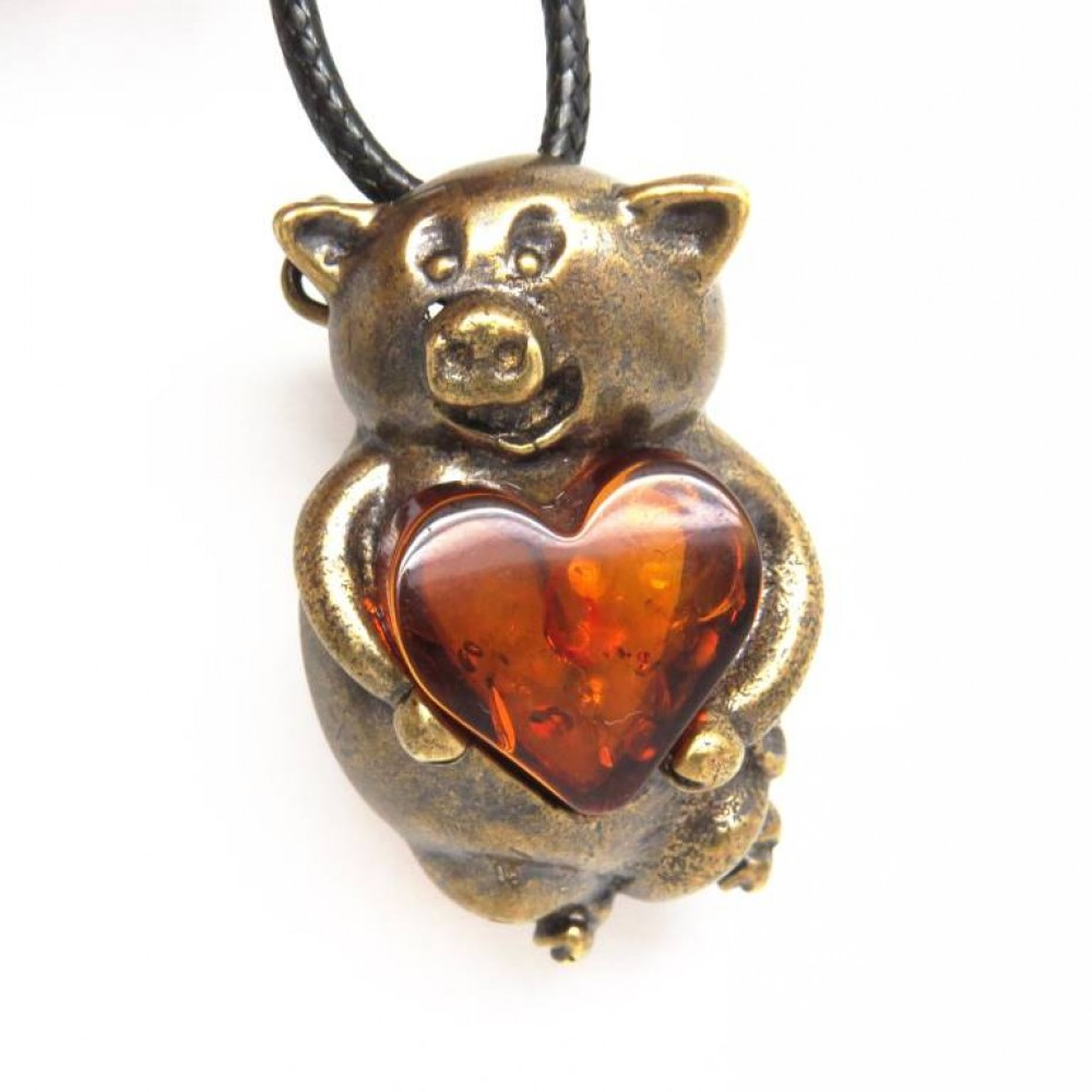 Брошь - кулон Поросёнок янтарь латунь бронза 715