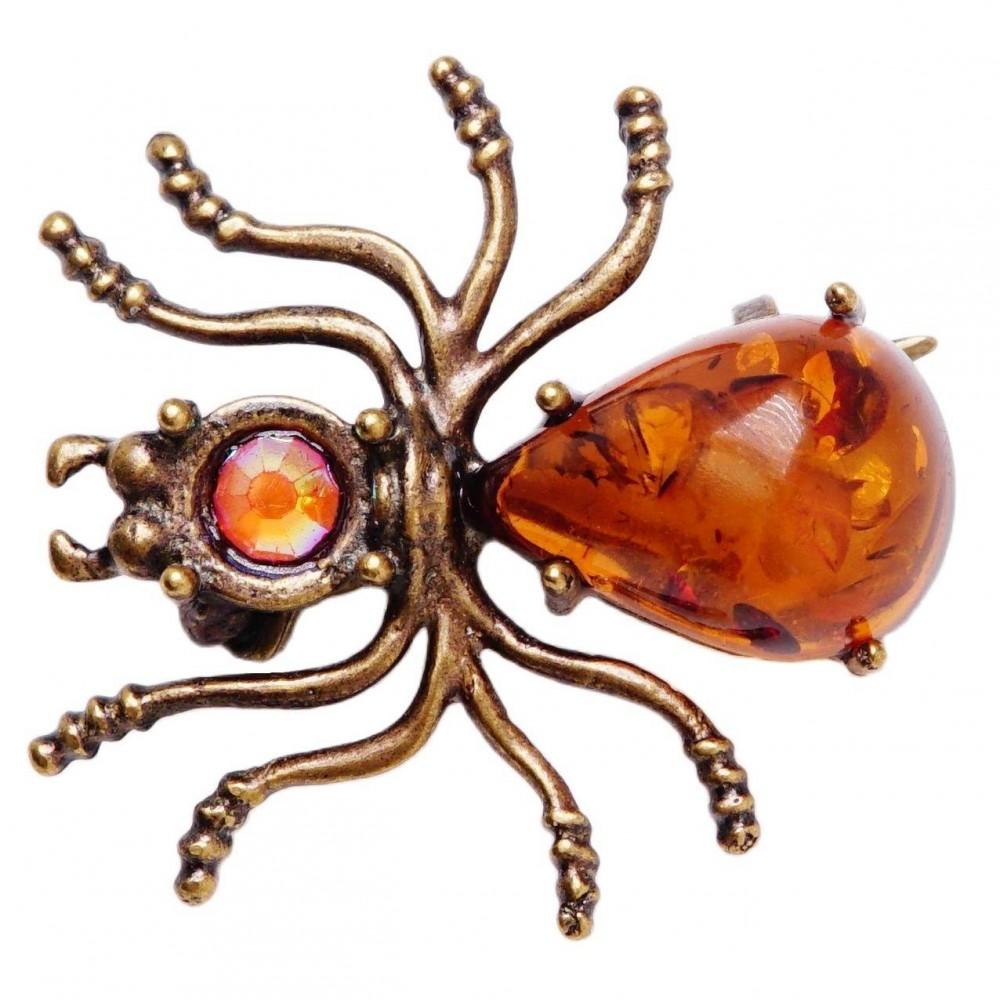 Брошь Паучок янтарь коричневый бронза 96