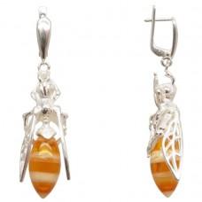 Серьги Пчёлы с янтарём посеребрение 1139