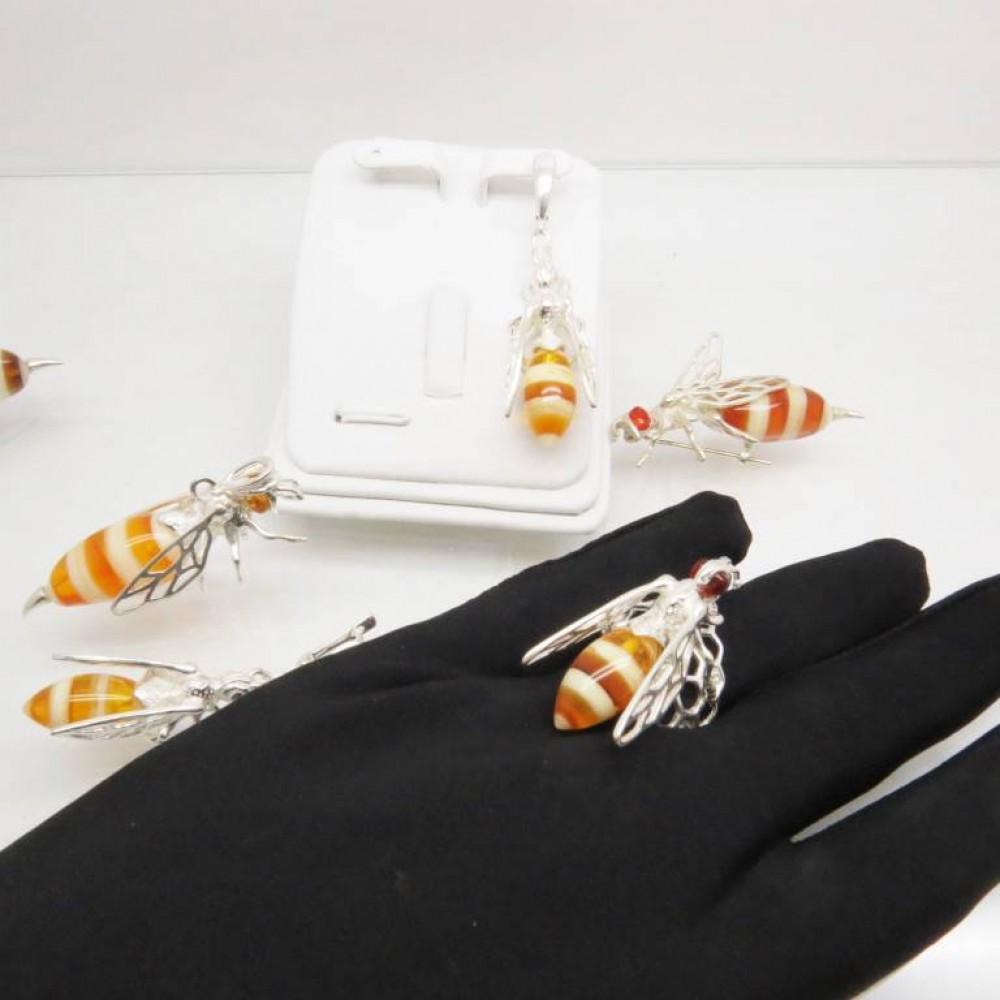 Кольцо Пчела с янтарём посеребрение 1139
