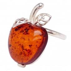 Кольцо Яблоко янтарь коричневый посеребрение 2105