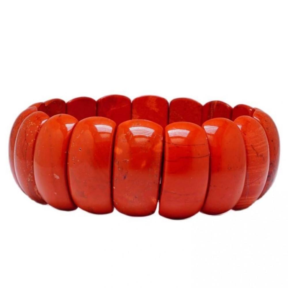 Браслет широкий яшма красная на резинке 3203