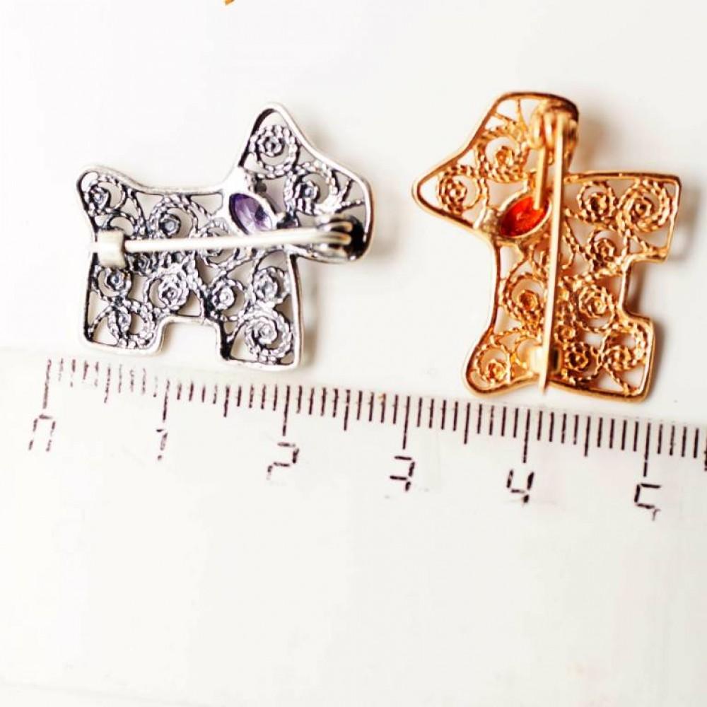 Брошь Собачка скань позолота 0.45 мк 593