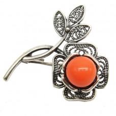 Брошь Цветок майорка оранжевая посеребрение 642