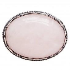 Брошь Розовый Кварц натуральный камень посеребрение 810