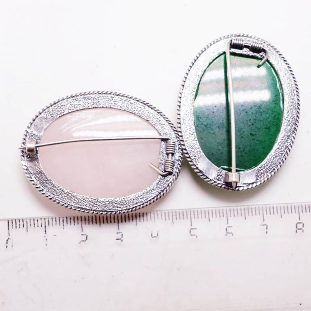Брошь овал Агат зеленый полосатый посеребрение 810