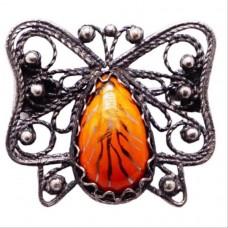 Брошь Бабочка оранжевая ростовская финифть 1227