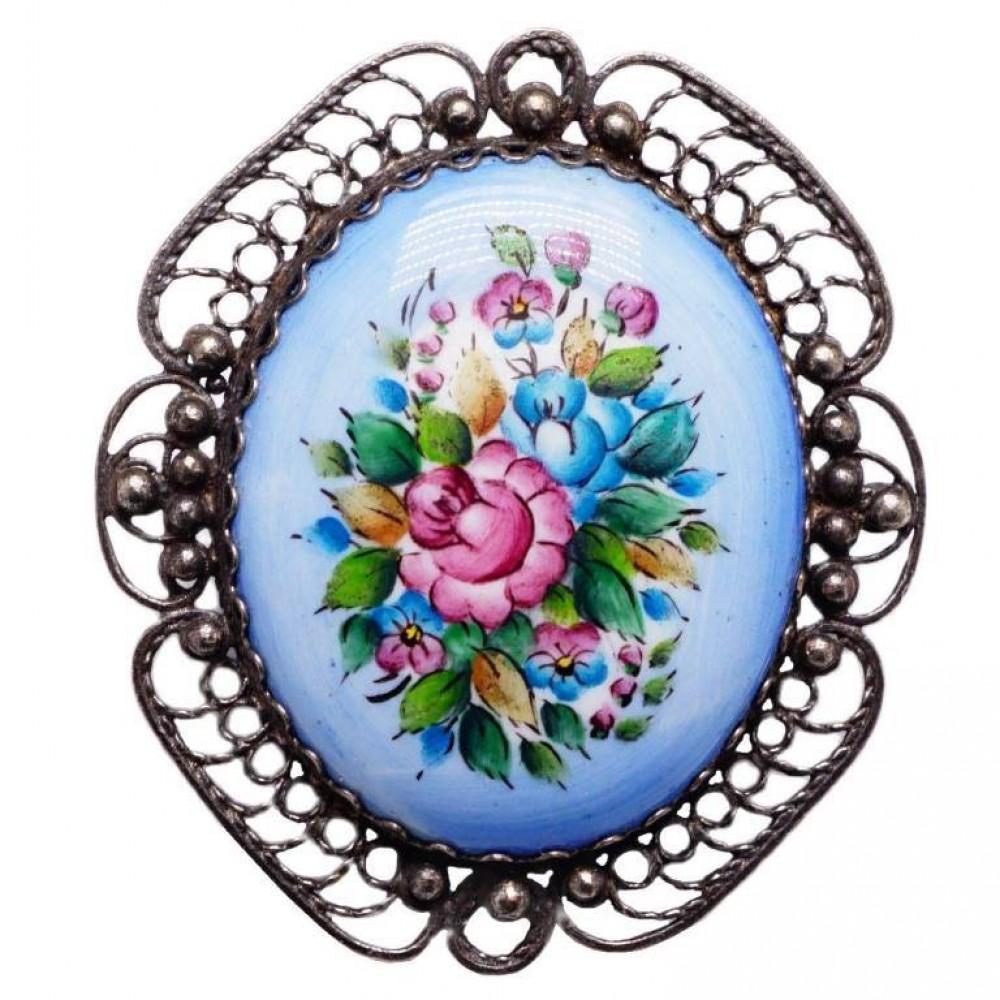 Брошь Ажурная Цветы ростовская финифть 1230